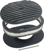 Macs Auto Parts Finned Aluminum Air Cleaner 12and039and039 Oval With Black Finish