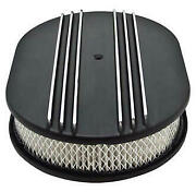 Macs Auto Parts Partial-finned Aluminum Air Cleaner, 12'' Oval With Black