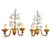 Antique French Maison Bagues Pair Wall Light Sconces Lamp Gilt Crystal Flowers