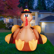 Holidayana 6ft Inflatable Thanksgiving Turkey With Pilgrim Hat Inflatable Yard D