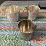 Vintage Antique Sterling Silver Set Of 3 Baby Cups 160g Reed Barton Durgin