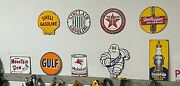 Vintage Porcelain Sign Collection 9 Signs - Gulf Shell Mobile And More