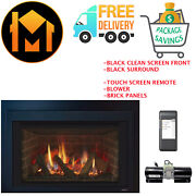 Majestic Ruby 25 Insert Fireplace Package Deal Black Front And Surround Brick Kit