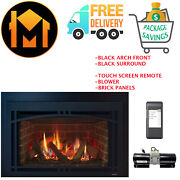 Majestic Ruby 25 Insert Fireplace Package Deal Panels, Black Arch And Surround
