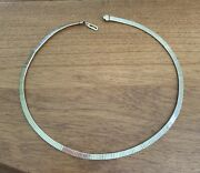 Vintage 12k Gf Herringbone Style Choker Necklace With Plunger Clasp 16 4.3mm