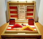 Vintage Royal By Crisloid Backgammon Set Marbled Red Yellow Bakelite Checkers
