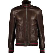 Authentic Brown Leather Bomber Jacket Eu 46 Uk 36 Us36 Andpound3100