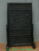27 Old Chinese Ebony Wood Hand-carved 9 Dragon Shelf Luck Folding Screen