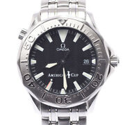 Auth Omega Watch Seamaster 300 Americaand039s Cup 2533.50 Ws Ss Automatic Black F/s