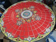 Mid-century Modern Wrought Iron And Red Tile With Gold Designs 37 Patio Table