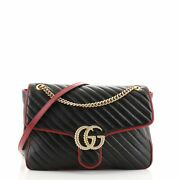 Gg Marmont Flap Bag Diagonal Quilted Leather Large