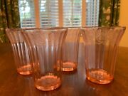 Four Vtg Jeanette Depression Glass Flat Juice Tumblers In Cherry Blossom Pink