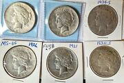 🔥 Incredible Hot Lot🔥 Six Peace Silver Dollars 4 X 1921 And 2 X 1934-s
