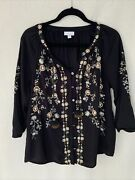 J.jill Womens Peasant Boho Embroidered Top Size Small Black Tassel Blouse Floral