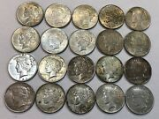 Roll Of 20 Mixed Dates Peace Silver Dollar Coins Toned Au. Rmd70