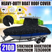 210d Waterproof Heavy-duty Center Console T-top Roof Boat Cover W/ Straps Black