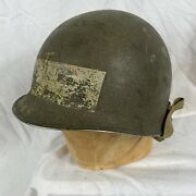 Original Wwii M-1c Airborne Helmet Early Fixed Bale