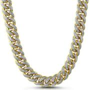 Solid 925 Sterling Silver Round Diamond Cuban Link Blaow Chain Necklace 18mm