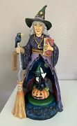 Jim Shore Heartwood Creek 11 Illuminated And Rotating Witch Midnight Mischief