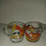 2 Garfield And Odie 1978 Glasses With Mc Donald's Emblem And Name Jim Davis