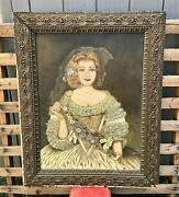 Antique Spanish Colonial Folk Art Signed Oil On Canvas Painting Of A Young Lady