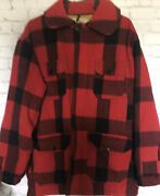 Vtg Woolrich Hunting Menandrsquos Jacket Red Black Buffalo Plaid Wool Size 42 Pockets