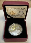 2014 1 Oz. Silver Canada Howling Wolf Northern Lights Hologram W/box And Coa