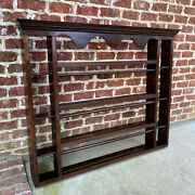 Antique English Plate Rack Wall Shelf Large Oak 19th C Dovetailed Sideboard 55w