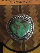 Vintage Silver Turquoise Bolo Tie Heavy. Beautiful Stone