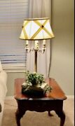 Ethan Allen Neoclassical Brass Table And Floor Lamps W/ Original Shades Stunning