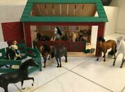 Wood Stable Horse Barn With Horses And Accessories Vintage Rare