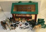 Wood Stable Horse Barn Playset With Horses And Accessories Vintage Rare