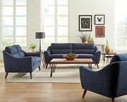 Mid-century Modern Living Room 3-piece Sofa Set, Couch Loveseat And Chair, Blue