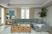 Mid-century Modern Low Profile Sofa Sectional With Right Arm Chaise - Gray