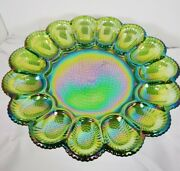 Vintage Indiana Green Carnival Glass Egg Plate Iridescent