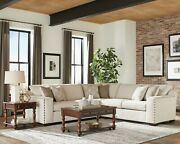 Modern Farmhouse Sectional Sofa With Nailheads Accent Pillows Included Beige