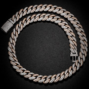 Solid 925 Sterling Silver Diamond Miami Cuban Link Necklace 16mm