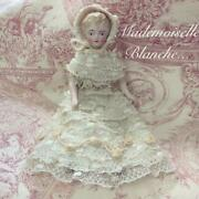 Antique China Head Bisque Doll Height 24cm Blonde Hair Color White Dress Japan