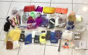 Large Lot Of Fishing Lure Fly Making Supplies Fur Feathers Flash Paint Eyes Head