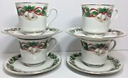 Sango China Noel 1990 8401 Christmas Holly Holiday Footed Cup And Saucer Lot Of 4