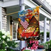 Country Roads Take Me Home Thanksgiving American Flag Gift For House Garden
