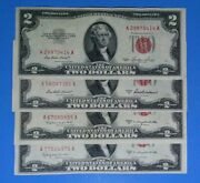 Complete Set 1953ab And C 2 Red Seals Vf. Crisp Old Us Currency Nice