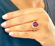 14k Yellow Gold Cushion Ruby And Round Cut Diamond Antique Design Ring 6.00ctw