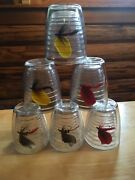 """Used Fly Fishing Lures Acrylic Insulated 4"""" Drink Glasses/tumblers Set Of 6"""