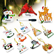 Personalized Christmas Ornaments Set Of 12 Resin Figurines Hanging Family Christ