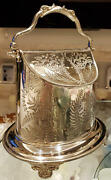 Silver Plate B Biscuit Barrel Cookie Jar Antique Sterling Silver Wwh&co Rare