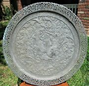Fine Large Antique Repousse Middle Eastern Arabic Islamic Silvered Copper Tray