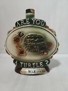 Jim Beam 1975 Are You A Turtle Whiskey Bottle Porcelain Decanter 9 Tall X 8 W