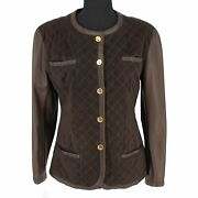 Vintage Quilted Brown Leather/suede Gold Elephant Button Jacket Small 38