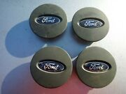 2010 Ford Focus Set Of 4 Dark Grey Mag Wheel Center Caps With Blue Ford Ovalb27